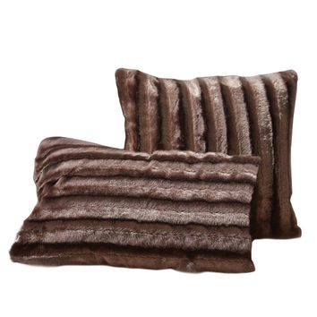 Faux Fur Throw Pillow Set