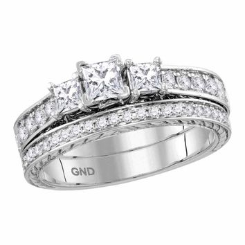 14kt White Gold Womens Princess Diamond 3-Stone Bridal Wedding Engagement Ring Band Set 1.00 Cttw (Certified)