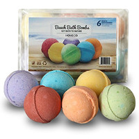 Bath Bombs Gift Set of 6, Beach Scents, Paraben Free, Phthalates Free, lush All Natural Essential Oils, Cocoa Butter, Fizzies, Melts