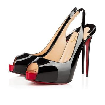 ONETOW Best Online Sale Christian Louboutin Cl Private Number Black/red Patent Leather