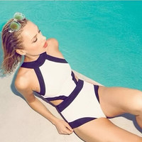 Stylish Women's Patchwork One Piece Swimwear Sexy High Waist Swimsuit Bandage Monokini = 1956853764