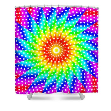 Rainbow Polka Dot Kaleidoscope Mandala Shower Curtain for Sale by Tigerlynx Art