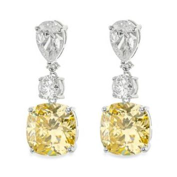 CZ by Kenneth Jay Lane Cubic Zirconia Iconic Pear and Cushion Drop Earrings