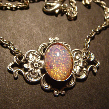 Victorian Style Fire Opal on Floral Setting Necklace in Antique Silver (475)