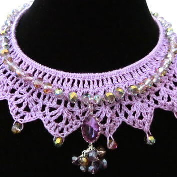 Purple Crochet Collar Necklace Choker, Purple Detached Collar Beaded Necklace, Mother's day Gift, Gift for Her, Free Gift Wrapping