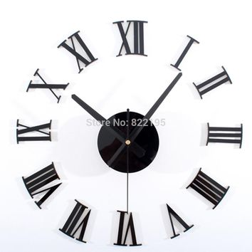 Roman Numerals Creative Antique DIY Self Adhesive Acrylic Living Room Wall Clock Quartz 3D Digital Home Decor Retro Art Watch