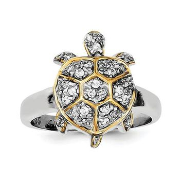 925 Sterling Silver CZ GP Turtle Ring