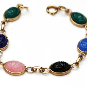 Vintage Glass Scarab  Bracelet   - oval cabochons - multi color blue pink green Black - linked bracelet