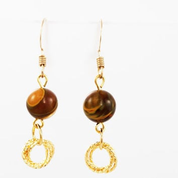 Brazilian Agate Beaded Earrings with Gold Twisted Rings on Gold Filled Ear Wires