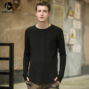 HZIJUE Men T shirt  Cool Oversized Hip Hop Extended T-shirt Tee Top  Casual Kanye West trill thumbhole lengthen T shirt Man