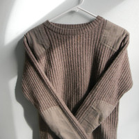Vintage 100% Merino Lamb's Wool LL Bean -- Hunter's Patchwork Sweater