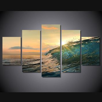 Ocean Sea Rolling Wave Sunset 5 piece HD Panel Print Wall Print Canvas