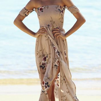 Daydream Diva Khaki Beige Floral Short Sleeve Smocked Off The Shoulder Cross Wrap High Low Maxi Dress