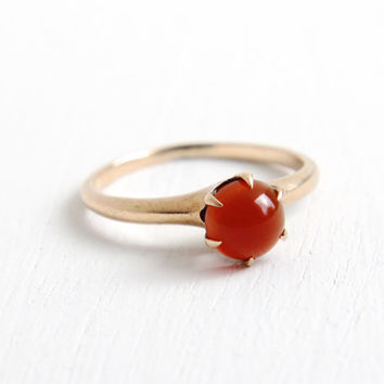 Antique 10k Rose Carnelian Solitaire Ring- Ostby & Barton OB Edwardian Art Deco Early 1900s Fine Jewelry