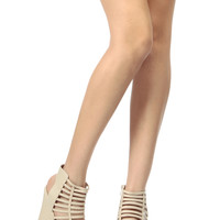 Beige Faux Leather Caged Open Toe Wedges