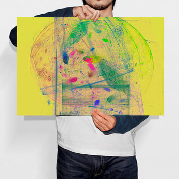 Painting Nebula Poster Abstract Yellow Wall Art Galaxy Art Modern Wall Decor Printable Digital Art Instant Download