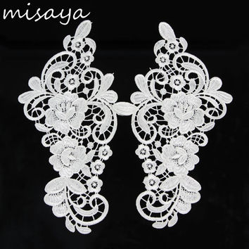 Misaya Vintage White Flower Embroidery Lace Appliqued Fabric Jacquard Ribbon Lace Fabric Sewing Trims 27.5cm*15cm