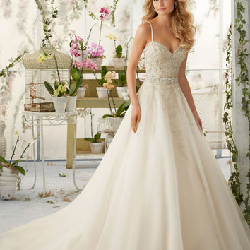 Crystal Beaded Embroidery on Organza Morilee Bridal Wedding Dress with Shoestring Straps | Style 2824 | Morilee