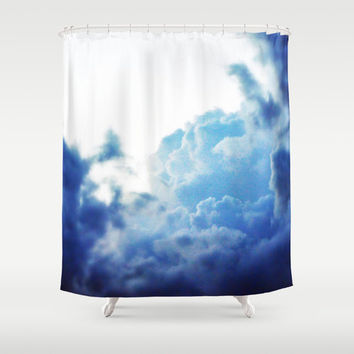 Indigo Sky - Shower Curtain, Boho Chic Blue Cloud Bath Tub Curtain, Vanity Bathroom Coastal Home Hanging Curtain Backdrop Accent. 71x74 Inch