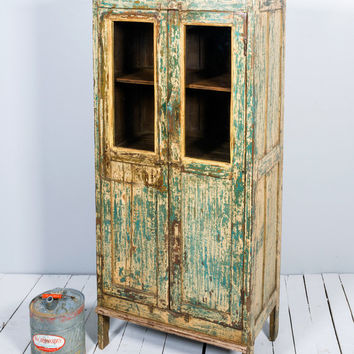 SALE Vintage Cupboard Distressed Indian Yellow and Green Rustic Glass Storage Kitchen Bathroom Cabinet