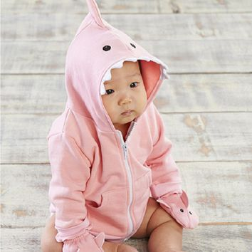 Pink Shark Happy Hoodie and Mittens