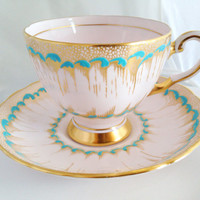 Plant China English Bone China Vintage Teacup & Saucer Set - Pink Gold teal - Balloon flower - hand-painted raised robin's turquoise green
