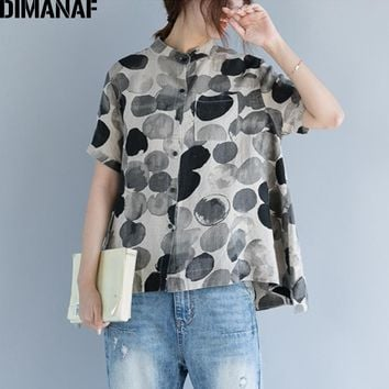 DIMANAF Women Summer Blouse Shirt Plus Size Print Polka Dot Linen Thin Basic Tops Female Lady Vintage Clothing Loose Blouse