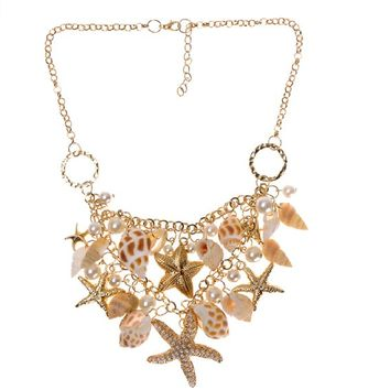 Women's Summer Hot Chunky Sea Shell Starfish Faux Pearl Gold Statement Necklace