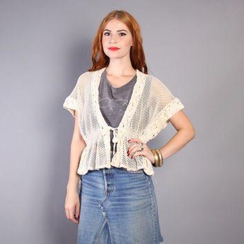 70s Ivory CROCHET SWEATER / 1970s V-Neck Tie-Waist Open Weave Cardi