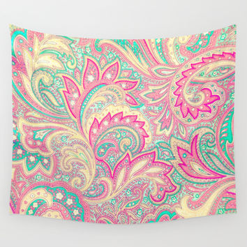 Pink Turquoise Girly Chic Floral Paisley Pattern Wall Tapestry by Girly Road