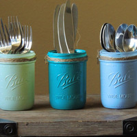 Teal  mason jar set, wedding decor, painted mason jars