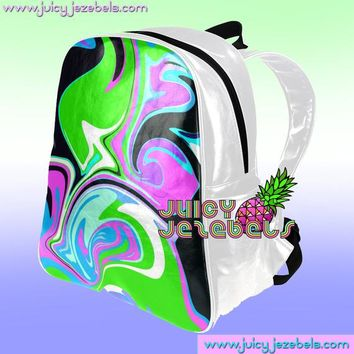 Colorful Leather Backpack Mini Backpack Women Rucksack School Backpack Small Backpack Rave Outfit Rave Clothing Music Festival Clothing EDM