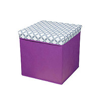 Bintopia Folding Storage Ottoman – Purple Pattern - Home - Furniture - Living Room Furniture - Ottomans