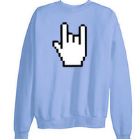 Tumblr Transparent 8Bit Rock On Sweatshirt