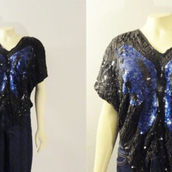 Vintage Top Blouse Butterfly Sequin Silk Black & Blue Sequins Shirt Size S M L Xl