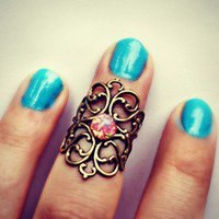 alapop — pink opal knuckle ring