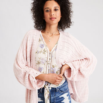 AE Gathered Tie Sleeve Cardigan, Blush