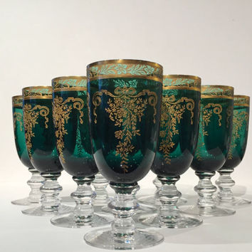 Tiffin-Franciscan Wine Cordial Stemware, Rare Set of 10, Green & Gold Tiffin Melrose Wine Glasses, Tiffin Melrose Green with Gold Etching
