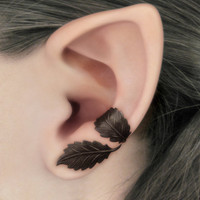 Dark Forest Left Ear Cuff - Dark Brown Leaves Filigree