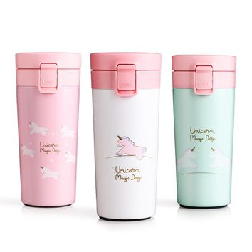 Unicorn Thermos Coffee Mug Travel Vacuum Flask Stainless Steel Portable Water Bottle Insulation Tumbler Cup Thermocup 400ml
