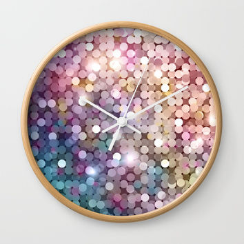 Rainbow glitter texture Wall Clock by printapix