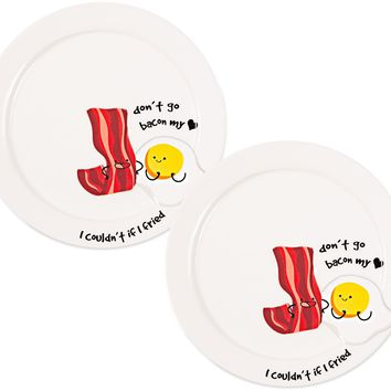 Don't go bacon my heart, I couldn't if I fried Appetizer Plates (Set of 2)