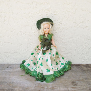 Vintage Irish Doll / Small Hard Plastic Doll / Duchess Doll / 1940s 1950s Travel Doll / Doll in Shamrock Dress