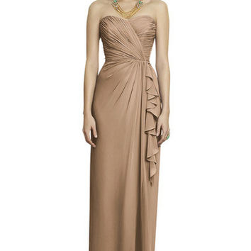 Dessy Collection 2895 Floor Length Strapless Chiffon Bridesmaid Dress