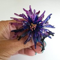 Vtg Cellulose Acetate Lavender Blue Flower Rhinestone Japanned Flower Pin Brooch
