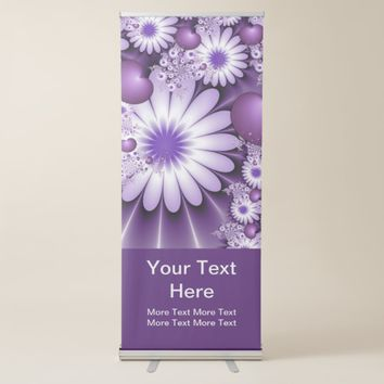 Falling in Love Abstract Flowers & Hearts Text Retractable Banner