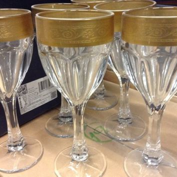 Czech Cut Bohemia Crystal Glass - Cut Wine glasses 190ml decorated gold and engraved (the price is for 6 glasses)