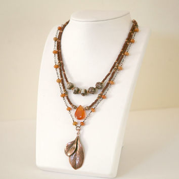 Autumn Color Necklace,Copper and Brown, Seed Bead and Antiqued Copper Double Leaf Multi Strand Boho Style Necklace