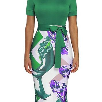 Green Bowknot Short Sleeve Printed Sheath Pencil Dress