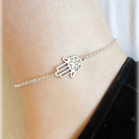 Hamsa, Prayer Hands Anklet - Silver Plated, Extendible